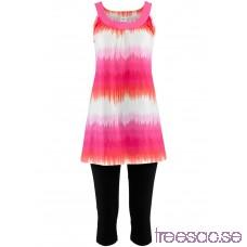 Nytt Klänning + capribyxa (2-delat set) ljus pink/vit, mönstrad + svart YY7erWBI3s
