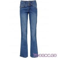 Nytt Mycket figurformande stretchjeans, bootcutmodell blå                              blå                      lsoYmKmQqy