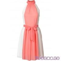 Nytt Halterneckklänning 92 cm, Kort                              vit/korallröd/gråbrun, randig                      qzAQSoS99a