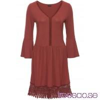 Nytt Must-have: boho-klänning med applikation 90 cm, Kort marsalabrun V80z2qlt5V