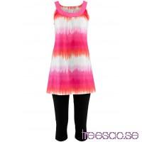 Nytt Klänning + capribyxa (2-delat set)                               ljus pink/vit, mönstrad + svart                      sT3SkCWTES