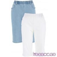 Nytt Stretchbermudas (2-pack)                               vit + blue bleached                      h4ru3vannN