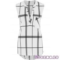 Nytt Blusshirt, ärmlös 82 cm                              vit/svart, rutig                      GHefbwOKFv