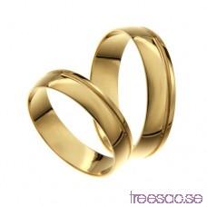 Förlovningsring 18k guld, kupad 6 mm - Selected - Zircon GgNm8l9BFt