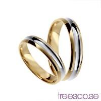 Förlovningsring 18k tvåfärgat guld, kupad 4 mm x 1,4 mm                          U5H2O0T3OI
