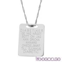 Diabetes-bricka i 925 Sterling Silver dKQDud6yA7