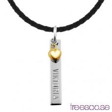 Fyrstav med hängande guldHjärta och valfri gravyr, 925 Silver 33x6x6 mm OGyruQ1E50