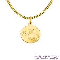 Hänge i 18k guld med valfri gravyr, 13mm med blomranka HVvfMFcAF6