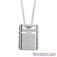 ID-Bricka med valfri gravyr 925 Silver, 13x19 mm facetterad                          Sw0InzxbaA