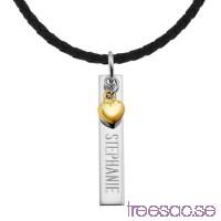 Stav med hängande guldHjärta och valfri gravyr, 925 Silver 33x6x1,5 mm                          hjbr8IBqIS