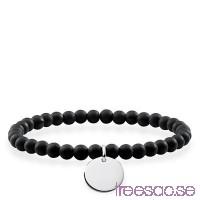 Thomas Sabo, Love Bridge Armband med Obsidian stenar och gravyrcirkel i 925 Sterling Silver                          1v1mUxkqck