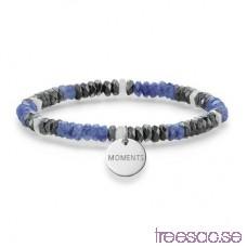 Thomas Sabo, Love Bridge Elastiskt Armband med Svart/vit/blå stenblandning och gravyrcirkel i 925 Sterling Silver 15,5 cm C5xeZzm1xX